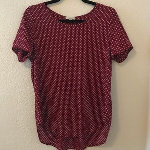 Small maroon and cream dot blouse